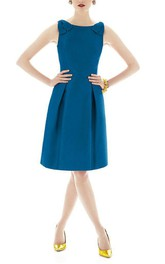 Bateau Neck Sleeveless Satin Dress with Bows