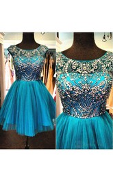 Cap Sleeve Jewel Neck Short Tulle Dress With Beading