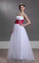 Strapless Ruched A-Line Gown With Beading and Tulle Overlay