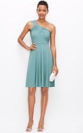 One-Shoulder Short Dress With Ruching Detail