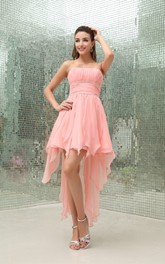 Sleeveless High-Low Chiffon Beading Waist and Dress With Ruching