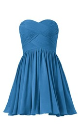 Sweetheart Asymmetrical Ruched Bodice Short Chiffon Dress