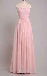Floor-length Sweetheart Beaded and Pleated Sheath Chiffon Bridesmaid Dress