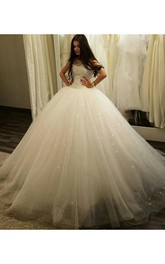 Stunning Sleeveless Tulle Princess Wedding Dress 2018 Sequins Ball Gown