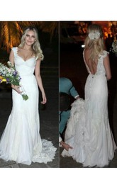 Sexy Full Lace Cap Sleeve Sexy Backless A Line V Neck Bridal Gowns