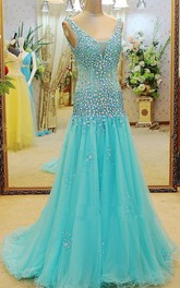 Glamorous V-neck Beadings A-line Prom Dress 2018 Sweep Train