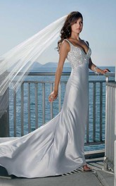 sheath Spaghetti Straps V-neck Elatic Woven Satin Wedding Dress