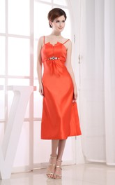 Chic Sleeveless Tea-Length Satin Dress With Beading