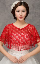 New High-end Lace Red Word Collar Shoulder Cape Shawl
