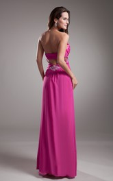Sweetheart Empire Chiffon Dress With Pleating and Beading