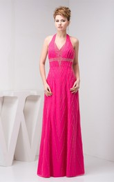 Sleeveless Maxi Stress and Dress With Halter