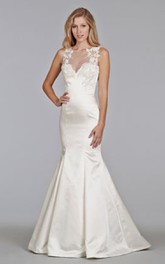 Delicate Illusion Bateau Neckline Lace Dress With Sheer Lace Back