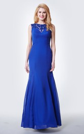 Lace Cap-sleeved Mermaid Long Chiffon Dress With Illusion Back