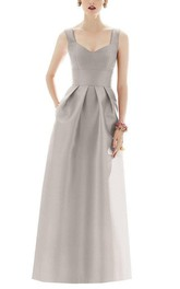 Strapped Satin Pleated Long Dress