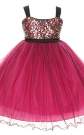 Sleeveless A-line Organza Dress With Sequins and Straps