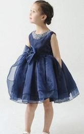 Flower Girl Beading Neck Empire Organza Ball Gown With Bow