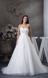 Sweetheart A-Line Appliques and Ball-Gown With Tulle