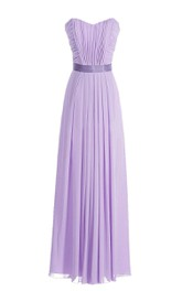 Elegant Sweetheart Pleated A-line Dress With Satin Sash