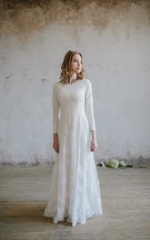 Elegant Chiffon and Lace Scoop Neckline 3/4 Sleeve Wedding Dress