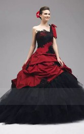 Ball Gown Taffeta Tulle One-shoulder Sleeveless Floor-length Wedding Dress with Appliques and Ruffles