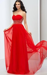 Sweetheart Lower Back Beaded Long Prom Dress