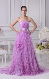 Sleeveless A-Line Ruched Broach and Gown With Ruffles