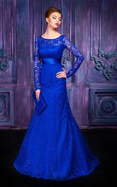 A-line Floor-length Jewel Long Sleeve Lace Keyhole Dress