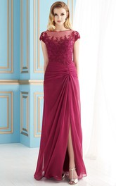 Cap-Sleeved Floor-Length Mother Of The Bride Dress With Front Slit And Lace Detail