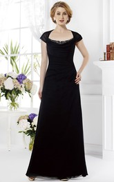 Cap-Sleeved Square-Neck Long Mother Of The Bride Dress With Crystals