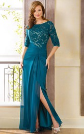 Half-Sleeved Bateau-Neck Long Gown With Side Slit And Lace