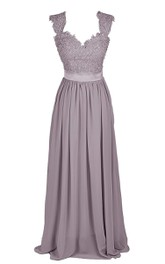 Cap-sleeve Long Dress With Lace Bodice and Sash