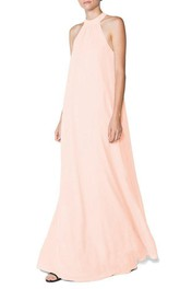 High-neck A-line Long Chiffon Dress