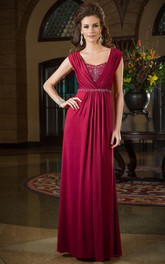 Cap-Sleeved A-Long Floor-Length Mother Of The Bride Dress With Jewels