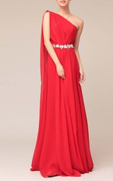 Floor-length One-shoulder Beaded Sheath Chiffon Bridesmaid Dress With Watteau Train