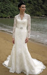 Sheath V-Neck Appliqued Long-Sleeve Lace Wedding Dress With Broach