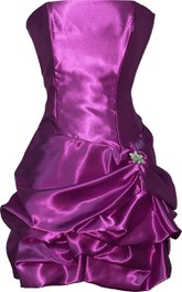 Strapless Short Satin Dress With Ruffles