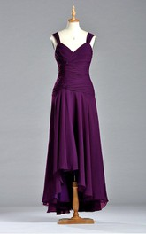 Fabulous A-line V-neck Long Chiffon Dress with Ruches