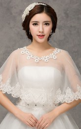 New Sweet Floral Lace Round Cape