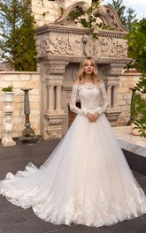 Off-the-shoulder Sash Illusion Long Sleeve And Button Back Ballgown Lace Tulle Wedding Dress