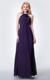 Sleeveless Beaded Halter Neck Pleated Long Chiffon Dress