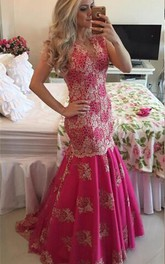 Chic Lace Appliques Mermaid Sequins Prom Dress Fuchsia 2018 Sweep Train