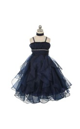 Chic Spaghetti Straps Tiered Organza A-line Long Dress With Beadings