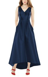 V-neck A-line High-low Bridesmaid Dress with Pockets