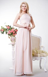 Elegant One-shoulder A-line Chiffon Gown With Bows