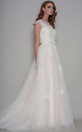 Long Scoop-Neck Appliqued Cap-Sleeve Tulle Wedding Dress