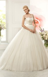 Ball Gown Long Scoop Cap-Sleeve Deep-V-Back Tulle Dress With Appliques And Waist Jewellery