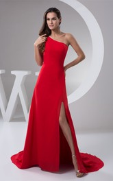 One-Shoulder Sheath Front-Split Dress With Sweep Train