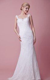 Classic Lace Mermaid Wedding Gown wirh Beaded Straps