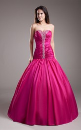 Dramatic Taffeta Beaded Sleeveless Maxi Special Occasion Dresses