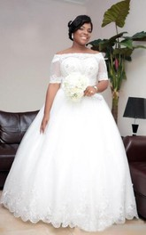 Lace Off Shoulder Sheer Half Sleeves Beaded Lace Up Plus Size Bridal Gown